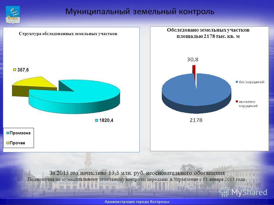 Муниципальный земельный контроль За 2013 год начислено 13,3 млн. руб. неосновательного обогащения Полномочия по муниципальному земельному контролю переданы в Управление с 01 января 2013 года. Обследовано земельных участков площадью 2178 тыс. кв. м