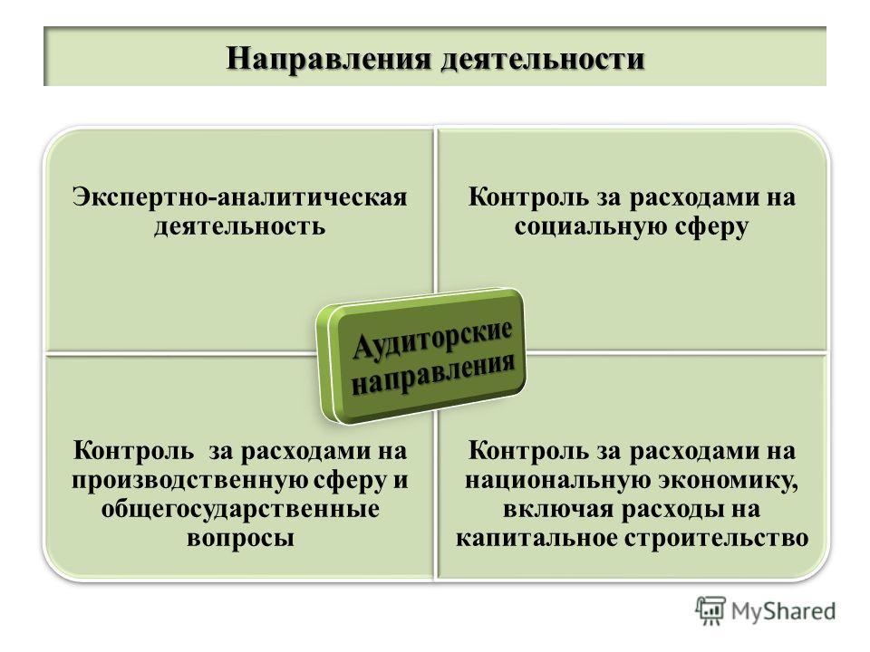 Экспертно-аналитическая деятельность Контроль за расходами на социальную сферу Контроль за расходами на производственную сферу и общегосударственные вопросы Контроль за расходами на национальную экономику, включая расходы на капитальное строительство