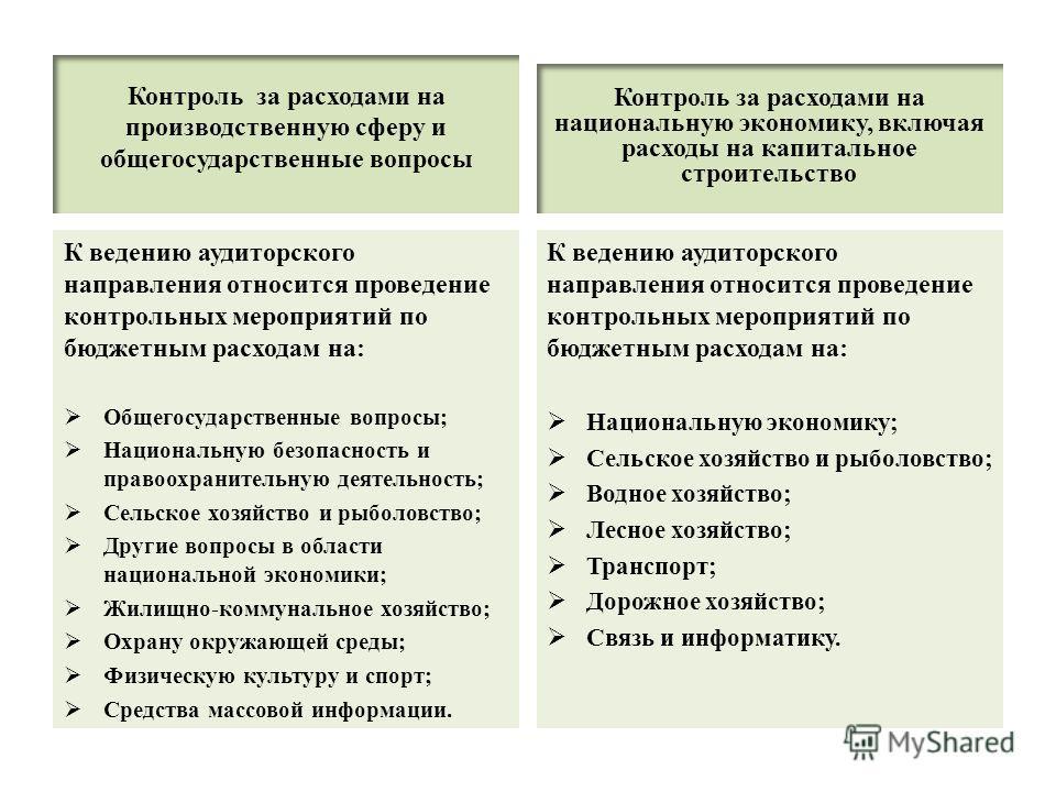 Контроль за расходами на производственную сферу и общегосударственные вопросы К ведению аудиторского направления относится проведение контрольных мероприятий по бюджетным расходам на: Общегосударственные вопросы; Национальную безопасность и правоохра