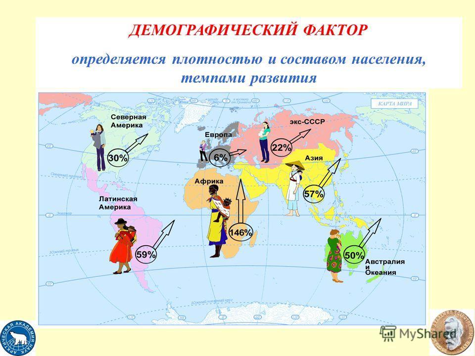 ДЕМОГРАФИЧЕСКИЙ ФАКТОР определяется плотностью и составом населения, темпами развития