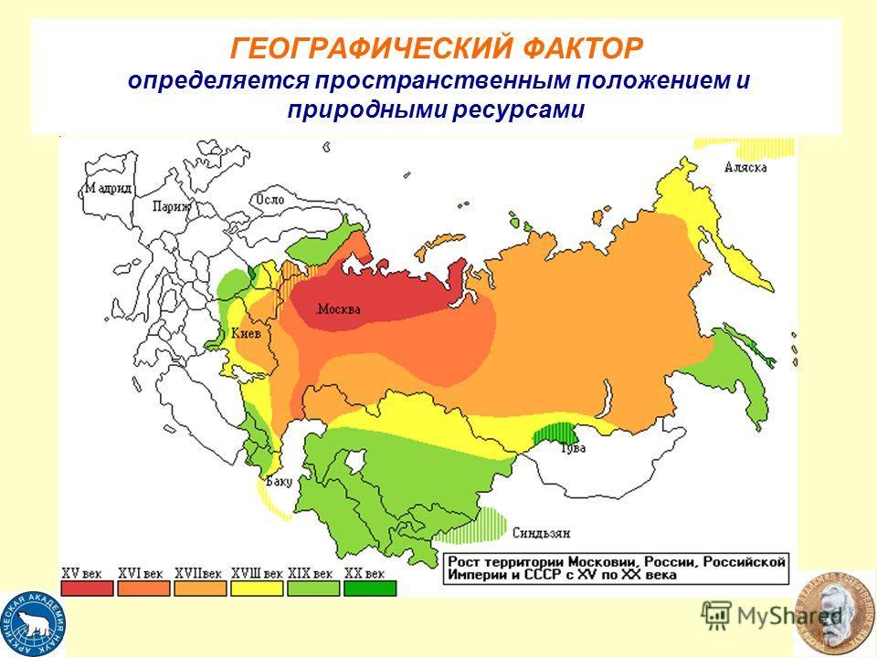 ГЕОГРАФИЧЕСКИЙ ФАКТОР определяется пространственным положением и природными ресурсами