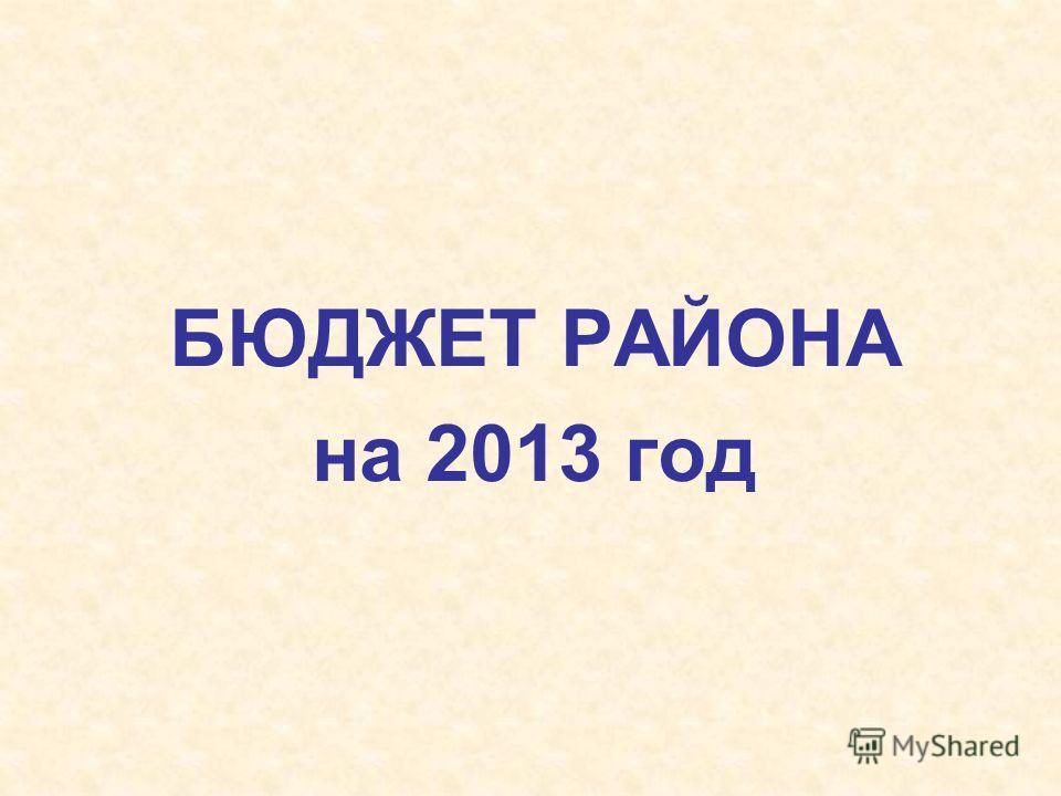 БЮДЖЕТ РАЙОНА на 2013 год