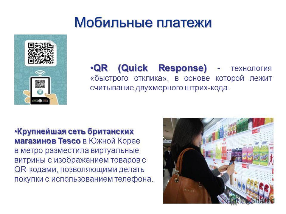 QR (Quick Response)QR (Quick Response) - технология «быстрого отклика», в основе которой лежит считывание двухмерного штрих-кода. Крупнейшая сеть британских Крупнейшая сеть британских магазинов Tesco магазинов Tesco в Южной Корее в метро разместила в
