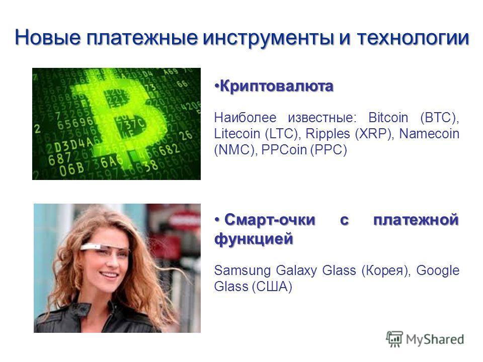 Новые платежные инструменты и технологии Криптовалюта Криптовалюта Наиболее известные: Bitcoin (BTC), Litecoin (LTC), Ripples (XRP), Namecoin (NMC), PPCoin (PPC) Смарт-очки с платежной функцией Смарт-очки с платежной функцией Samsung Galaxy Glass (Ко