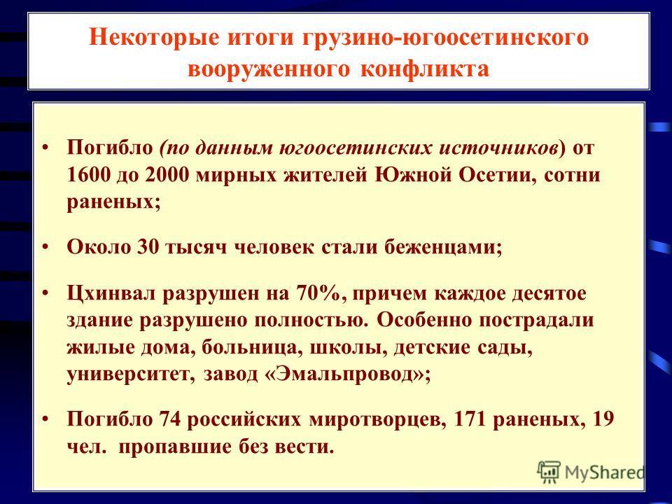 Некоторые итоги грузино-югоосетинского вооруженного конфликта Погибло (по данным югоосетинских источников) от 1600 до 2000 мирных жителей Южной Осетии, сотни раненых; Около 30 тысяч человек стали беженцами; Цхинвал разрушен на 70%, причем каждое деся