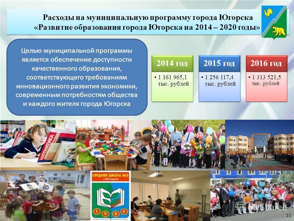 2014 год 1 161 965,1 тыс. рублей 2015 год 1 256 117,4 тыс. рублей 2016 год 1 313 521,5 тыс. рублей Целью муниципальной программы является обеспечение доступности качественного образования, соответствующего требованиям инновационного развития экономик