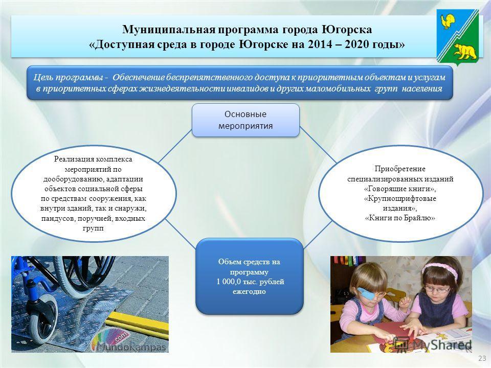 Цель программы - Обеспечение беспрепятственного доступа к приоритетным объектам и услугам в приоритетных сферах жизнедеятельности инвалидов и других маломобильных групп населения Реализация комплекса мероприятий по дооборудованию, адаптации объектов