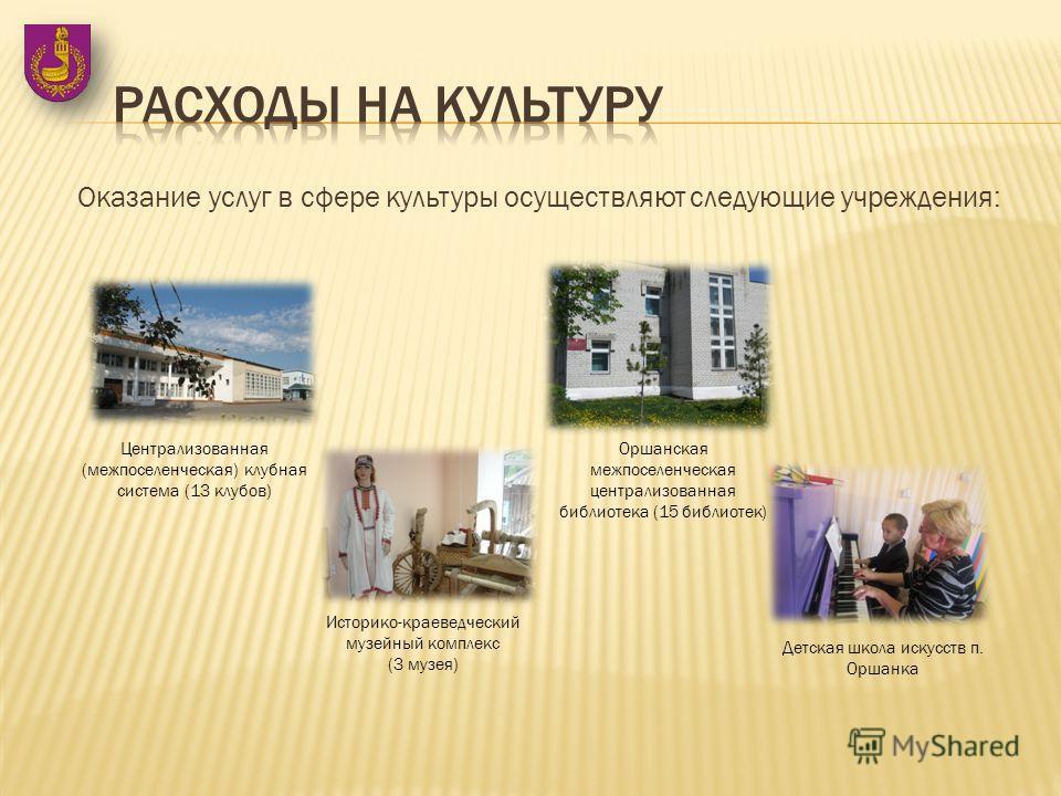Оказание услуг в сфере культуры осуществляют следующие учреждения: Централизованная (межпоселенческая) клубная система (13 клубов) Оршанская межпоселенческая централизованная библиотека (15 библиотек) Историко-краеведческий музейный комплекс (3 музея