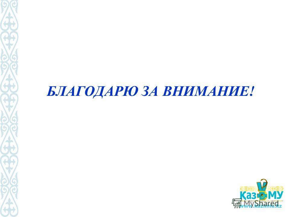www.kaznmu.kz БЛАГОДАРЮ ЗА ВНИМАНИЕ!
