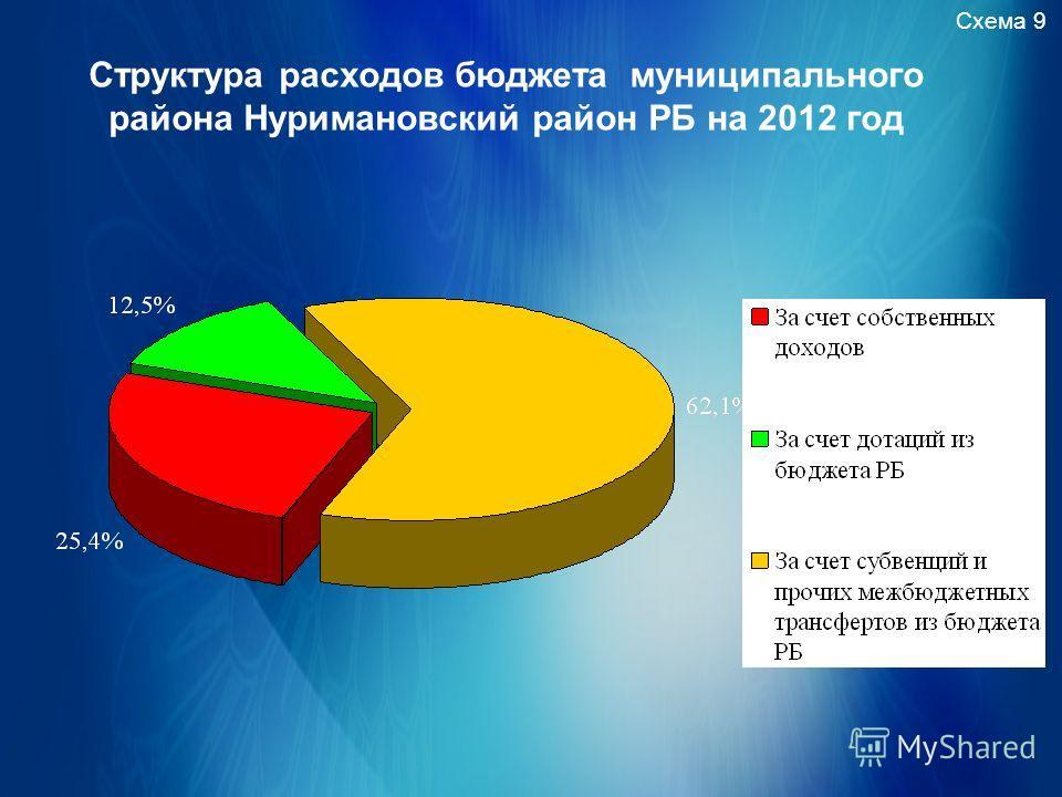 Схема 9 Структура расходов бюджета муниципального района Нуримановский район РБ на 2012 год