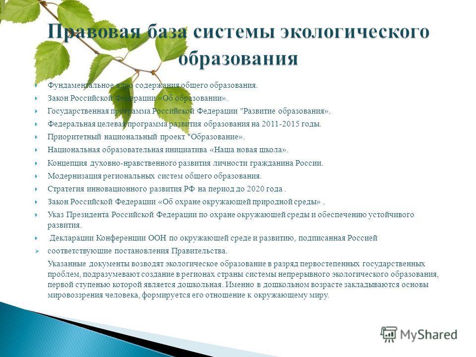 Фундаментальное ядро содержания общего образования. Закон Российской Федерации «Об образовании». Государственная программа Российской Федерации