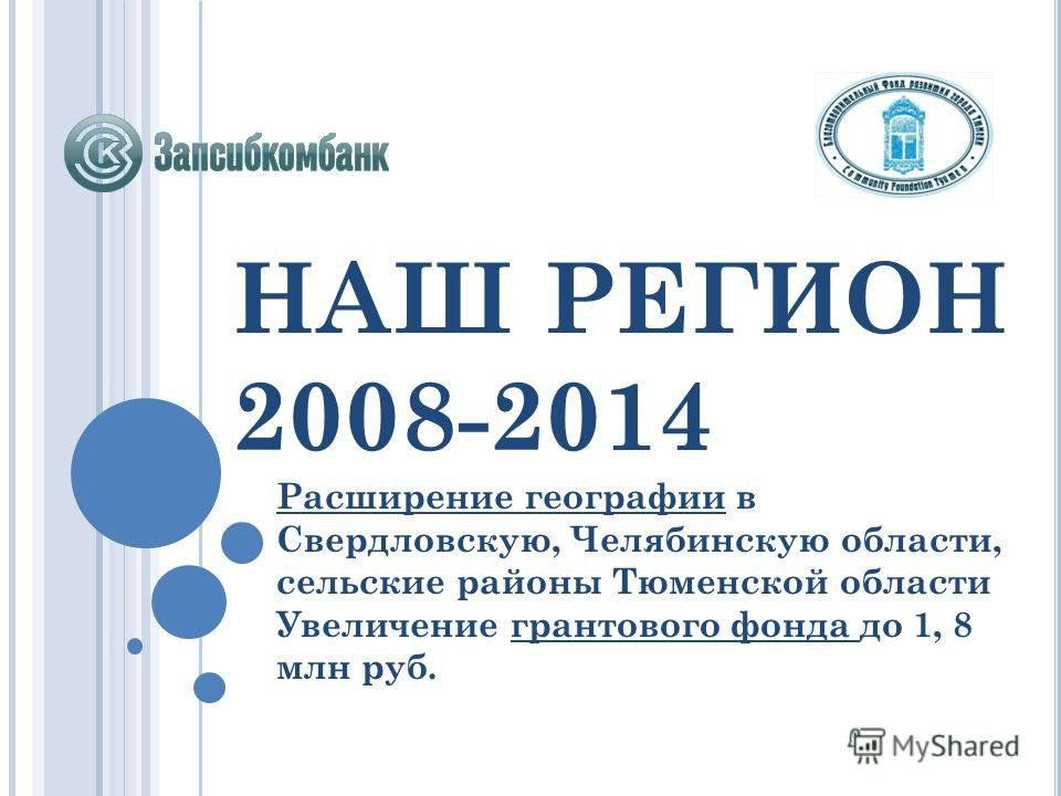 НАШ РЕГИОН 2008-2014 Расширение географии в Свердловскую, Челябинскую области, сельские районы Тюменской области Увеличение грантового фонда до 1, 8 млн руб.