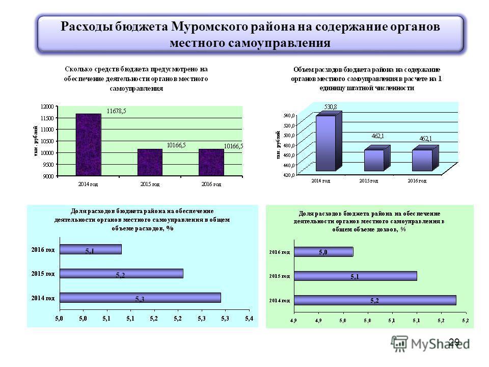 29 Расходы бюджета Муромского района на содержание органов местного самоуправления