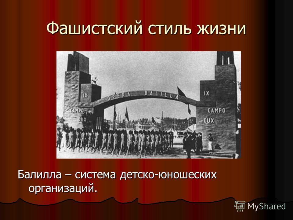 Фашистский стиль жизни Балилла – система детско-юношеских организаций.