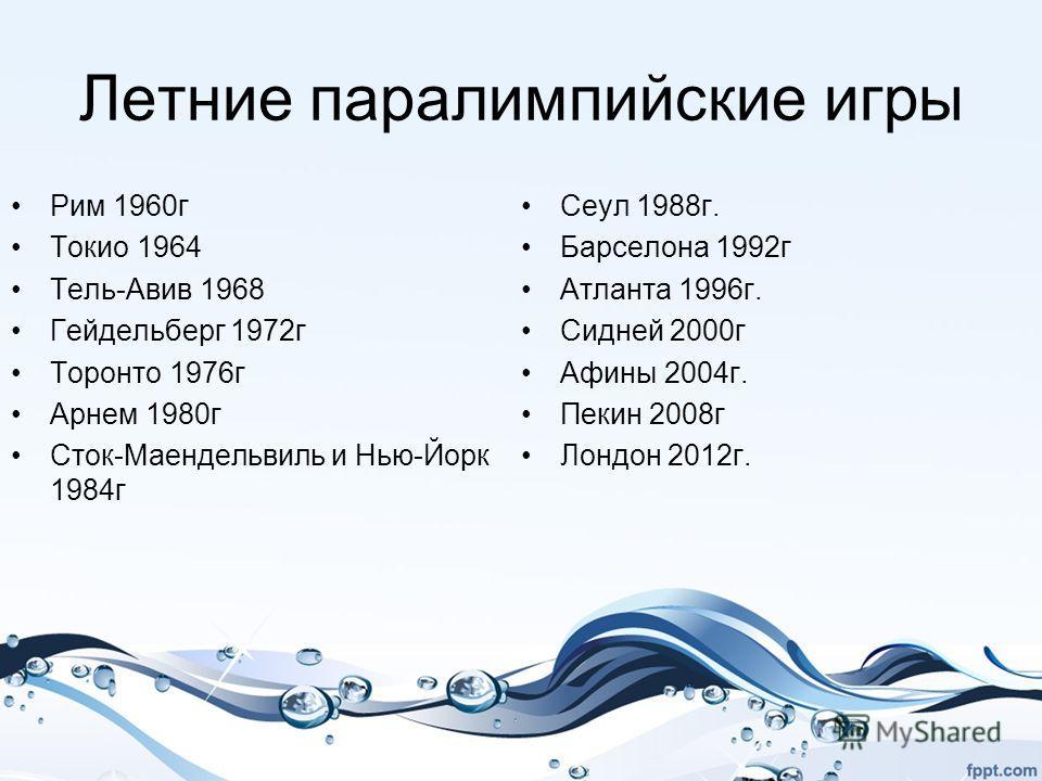 Летние паралимпийские игры Рим 1960 г Токио 1964 Тель-Авив 1968 Гейдельберг 1972 г Торонто 1976 г Арнем 1980 г Сток-Маендельвиль и Нью-Йорк 1984 г Сеул 1988 г. Барселона 1992 г Атланта 1996 г. Сидней 2000 г Афины 2004 г. Пекин 2008 г Лондон 2012 г.