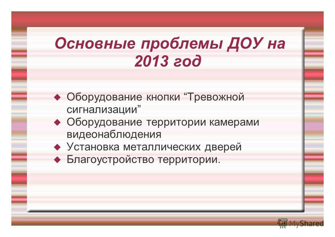 Основные проблемы ДОУ на 2013 год Оборудование кнопки Тревожной сигнализации Оборудование территории камерами видеонаблюдения Установка металлических дверей Благоустройство территории.