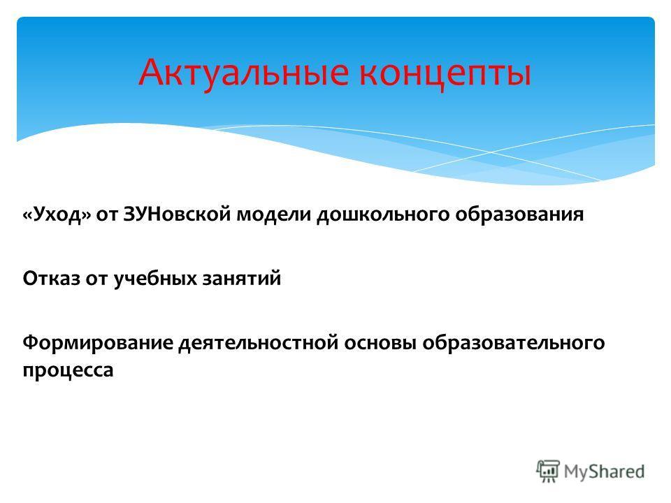 «Уход» от ЗУНовской модели дошкольного образования Отказ от учебных занятий Формирование деятельностной основы образовательного процесса Актуальные концепты