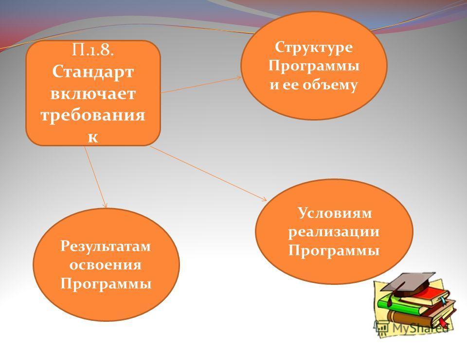 П.1.8. Стандарт включает требования к Результатам освоения Программы Условиям реализации Программы Структуре Программы и ее объему