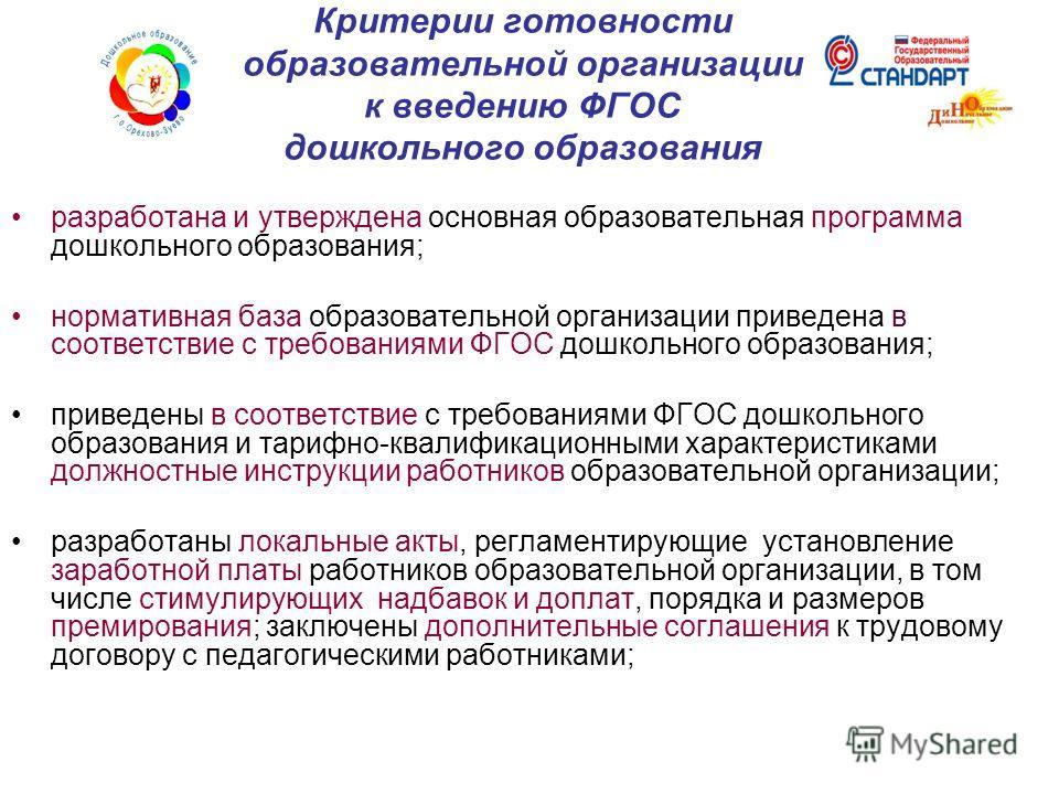 Критерии готовности образовательной организации к введению ФГОС дошкольного образования разработана и утверждена основная образовательная программа дошкольного образования; нормативная база образовательной организации приведена в соответствие с требо