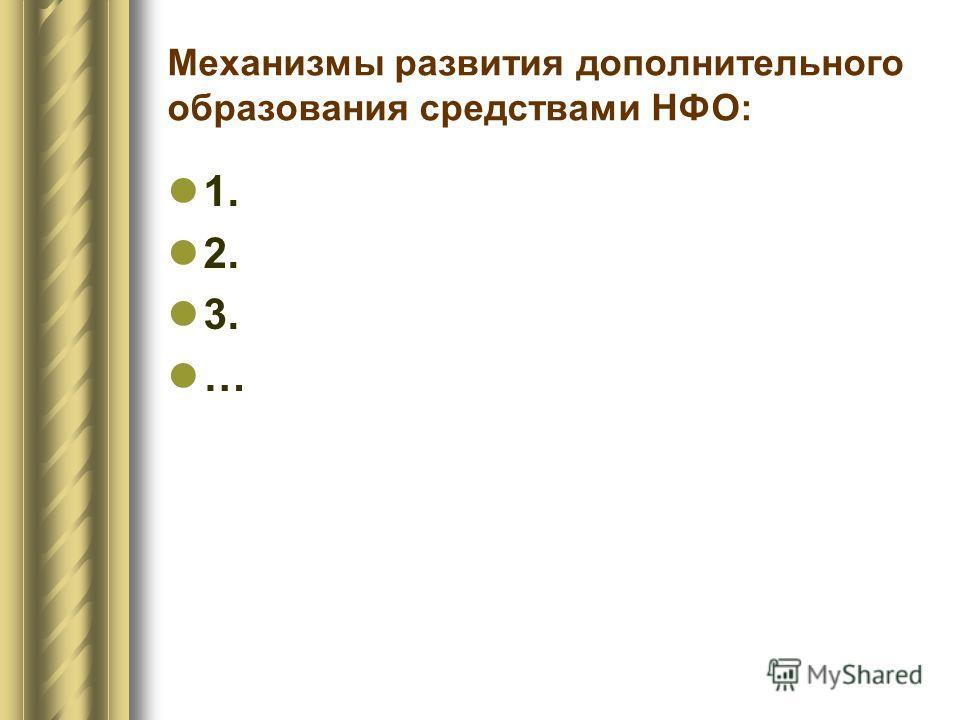 Механизмы развития дополнительного образования средствами НФО: 1. 2. 3. …