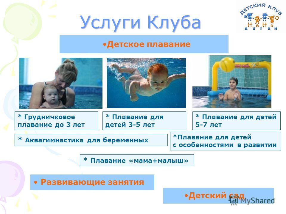 Услуги Клуба * Грудничковое плавание до 3 лет * Плавание для детей 3-5 лет * Плавание для детей 5-7 лет Детское плавание Развивающие занятия Детский сад * Аквагимнастика для беременных *Плавание для детей с особенностями в развитии * Плавание «мама+м