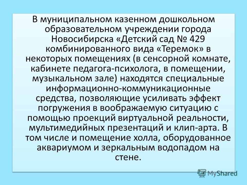 В муниципальном казенном дошкольном образовательном учреждении города Новосибирска «Детский сад 429 комбинированного вида «Теремок» в некоторых помещениях (в сенсорной комнате, кабинете педагога-психолога, в помещении, музыкальном зале) находятся спе