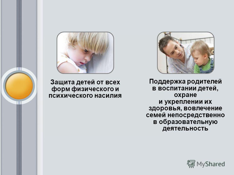 Защита детей от всех форм физического и психического насилия Поддержка родителей в воспитании детей, охране и укреплении их здоровья, вовлечение семей непосредственно в образовательную деятельность
