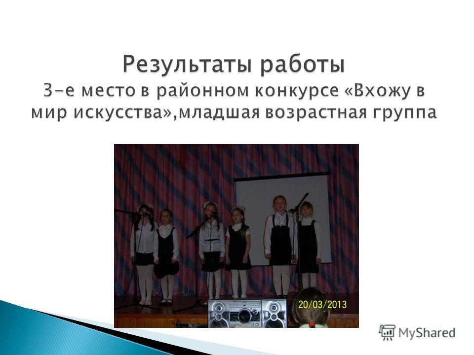 Результаты работы 3-е место в районном конкурсе «Вхожу в мир искусства»,младшая возрастная группа