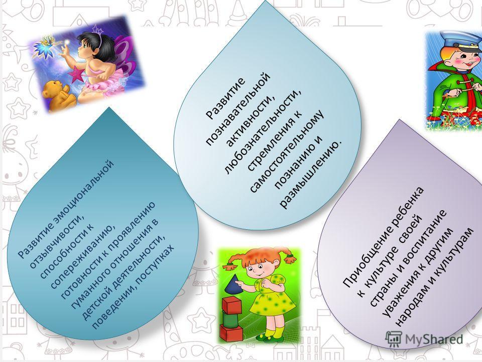 Развитие эмоциональной отзывчивости, способности к сопереживанию, готовности к проявлению гуманного отношения в детской деятельности, поведении, поступках Развитие познавательной активности, любознательности, стремления к самостоятельному познанию и