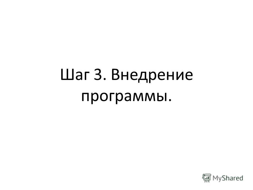 Шаг 3. Внедрение программы.