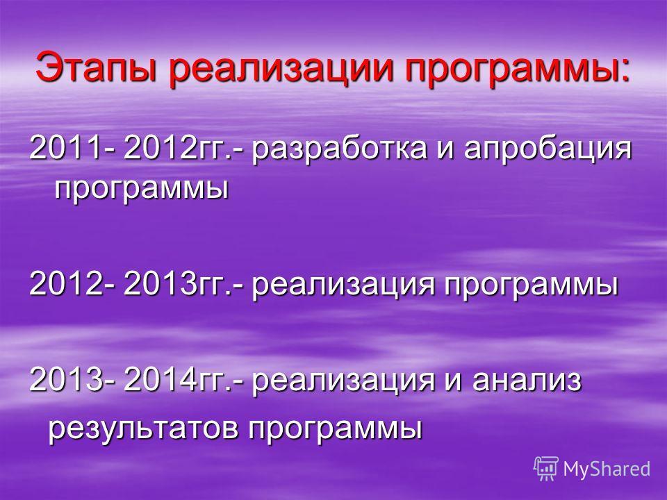 Этапы реализации программы: 2011- 2012 гг.- разработка и апробация программы 2012- 2013 гг.- реализация программы 2013- 2014 гг.- реализация и анализ результатов программы результатов программы