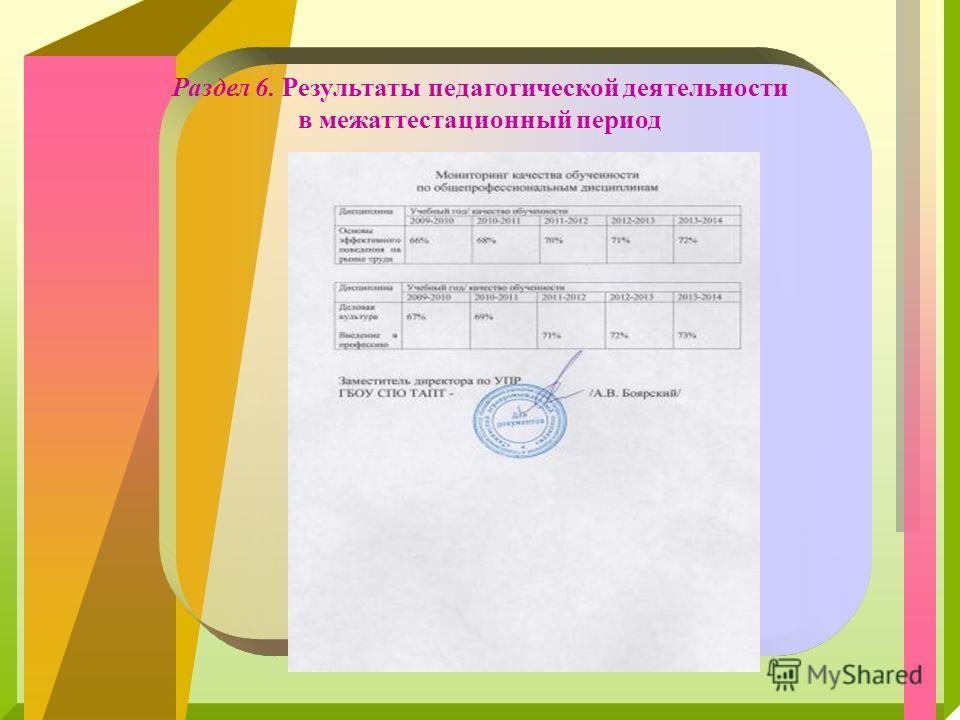 Раздел 6. Результаты педагогической деятельности в межаттестационный период