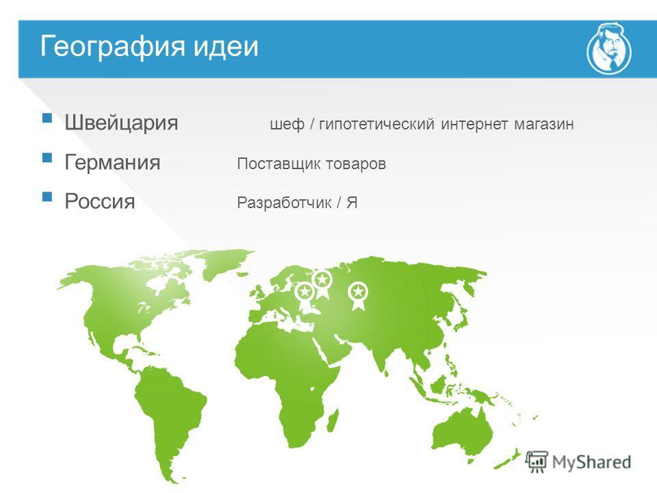 Швейцария шеф / гипотетический интернет магазин Германия Поставщик товаров Россия Разработчик / Я