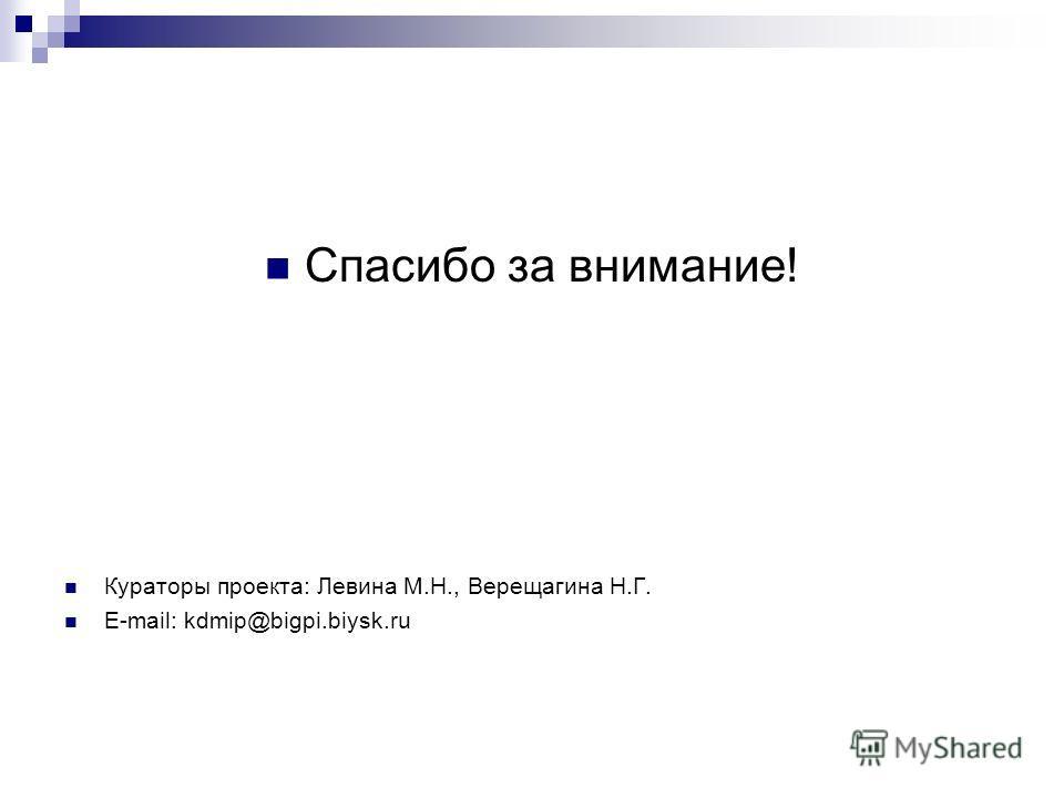 Спасибо за внимание! Кураторы проекта: Левина М.Н., Верещагина Н.Г. E-mail: kdmip@bigpi.biysk.ru