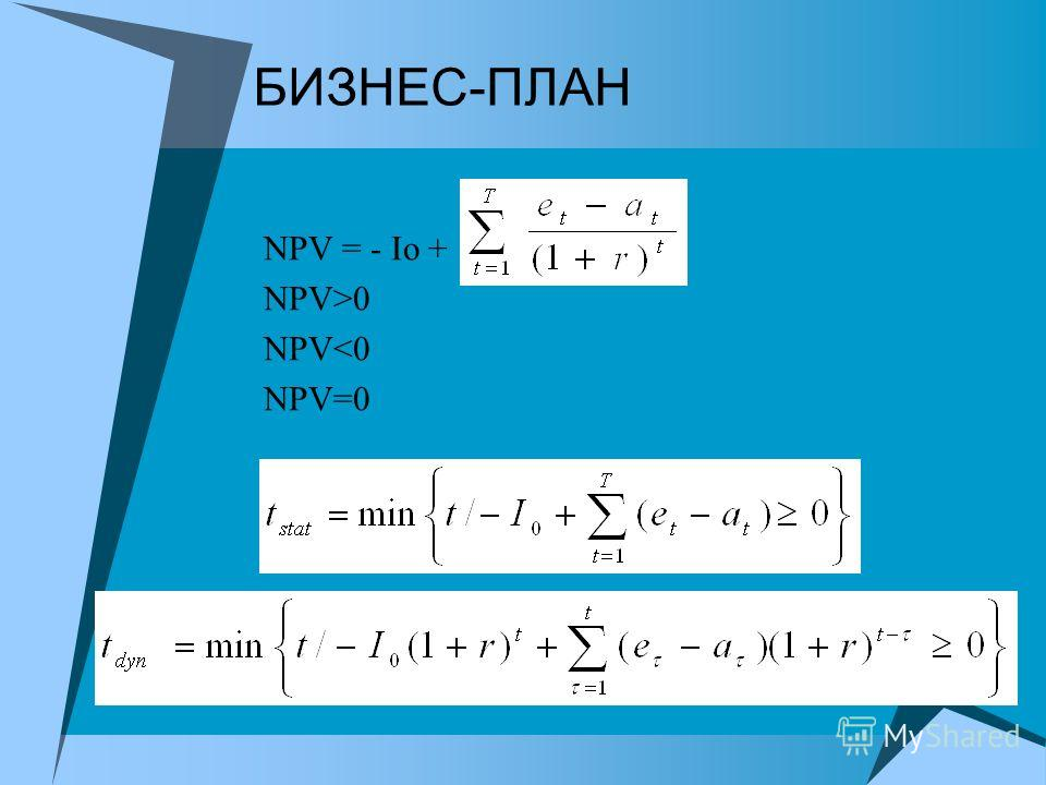 БИЗНЕС-ПЛАН NPV = - Io + - NPV>0 NPV
