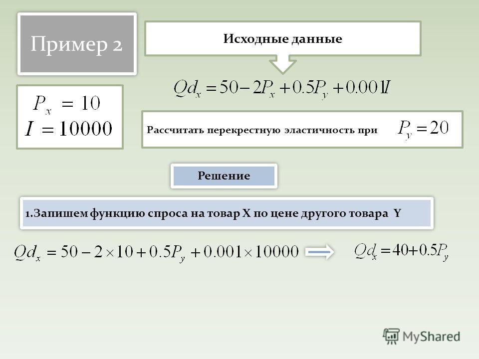 Пример 2 Рассчитать перекрестную эластичность при Исходные данные Решение 1. Запишем функцию спроса на товар Х по цене другого товара Y