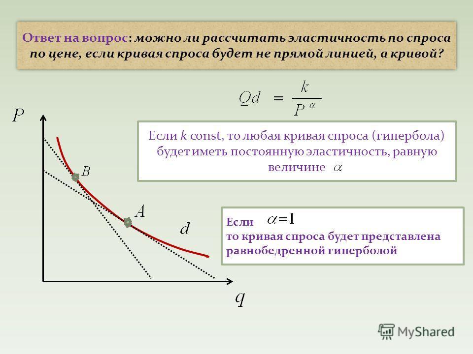 Ответ на вопрос: можно ли рассчитать эластичность по спроса по цене, если кривая спроса будет не прямой линией, а кривой? Если k const, то любая кривая спроса (гипербола) будет иметь постоянную эластичность, равную величине Если то кривая спроса буде