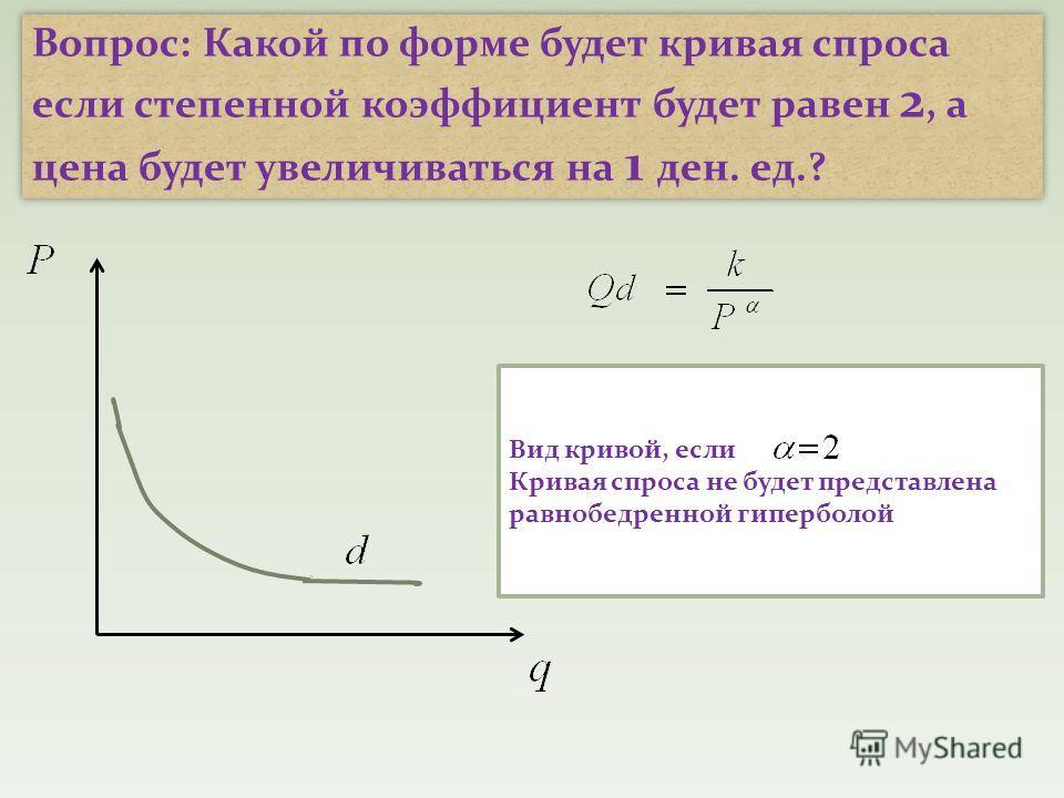 Вопрос: Какой по форме будет кривая спроса если степенной коэффициент будет равен 2, а цена будет увеличиваться на 1 ден. ед.? Вид кривой, если Кривая спроса не будет представлена равнобедренной гиперболой