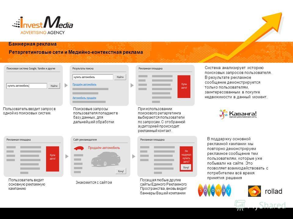 Баннерная реклама Ретаргетинговые сети и Медийно-контекстная реклама Пользователь вводит запрос в одной из поисковых систем. Поисковые запросы пользователя попадают в базу данных, для дальнейшей обработки При использовании поискового ретаргетинга выб