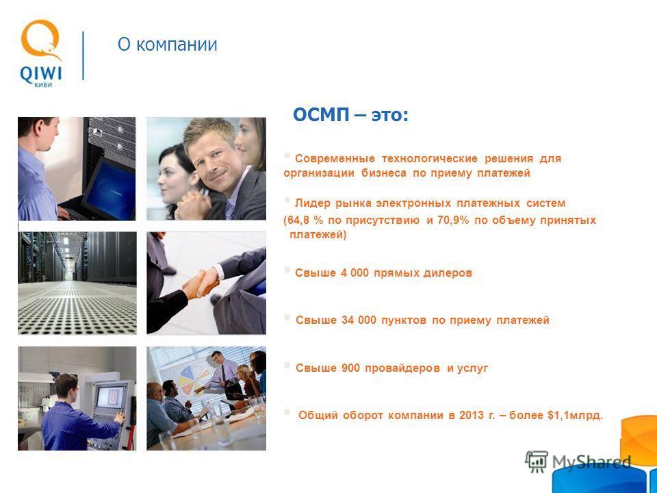 ОСМП – это: Современные технологические решения для организации бизнеса по приему платежей Лидер рынка электронных платежных систем (64,8 % по присутствию и 70,9% по объему принятых платежей) Свыше 4 000 прямых дилеров Свыше 34 000 пунктов по приему