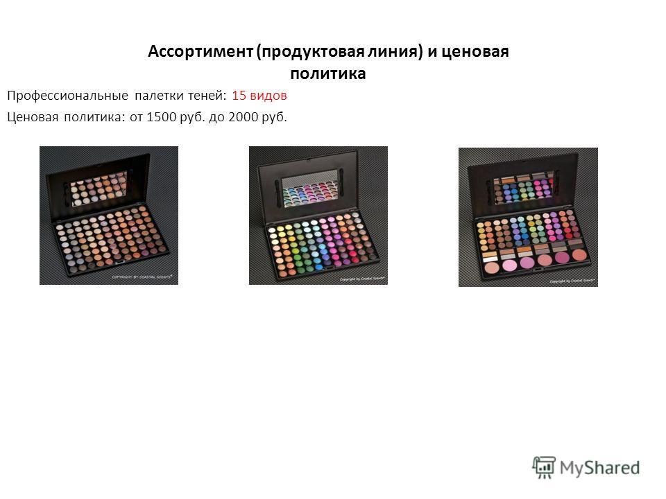 Ассортимент (продуктовая линия) и ценовая политика Профессиональные палетки теней: 15 видов Ценовая политика: от 1500 руб. до 2000 руб.