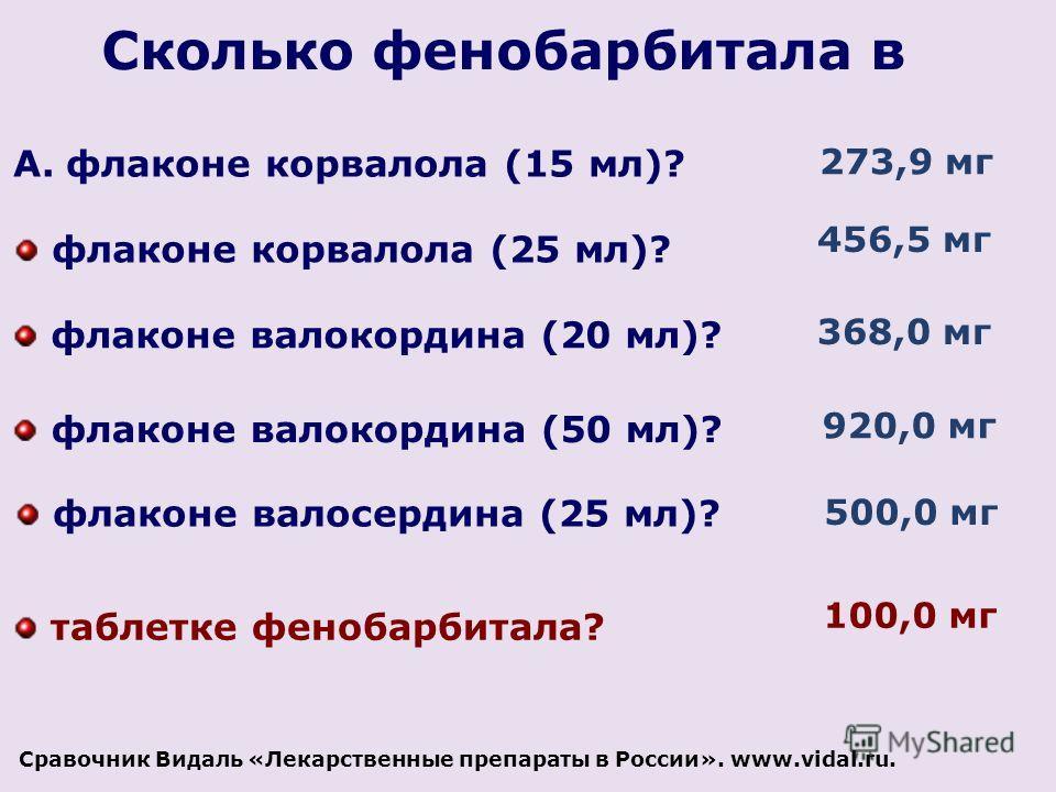 Сколько фенобарбитала в A.флаконе корвалола (15 мл)? флаконе корвалола (25 мл)? флаконе валокордина (20 мл)? флаконе валокордина (50 мл)? флаконе валосердина (25 мл)? 273,9 мг 456,5 мг 368,0 мг 920,0 мг 500,0 мг таблетке фенобарбитала? 100,0 мг Сраво