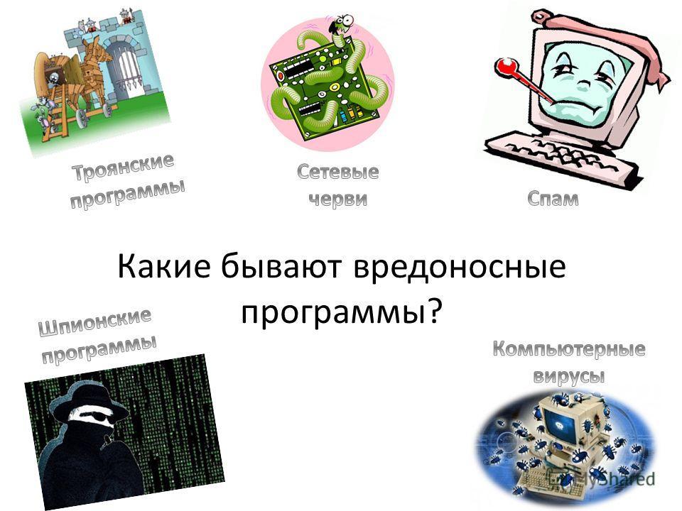 Какие бывают вредоносные программы?