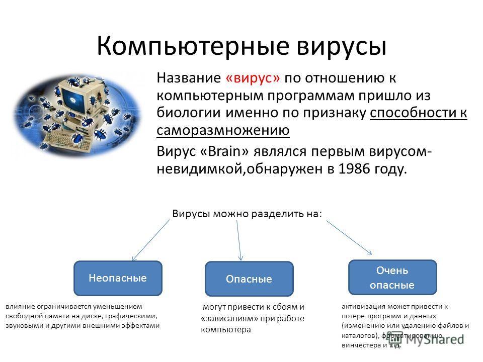 Компьютерные вирусы Название «вирус» по отношению к компьютерным программам пришло из биологии именно по признаку способности к саморазмножению Вирус «Brain» являлся первым вирусом- невидимкой,обнаружен в 1986 году. Вирусы можно разделить на: Неопасн