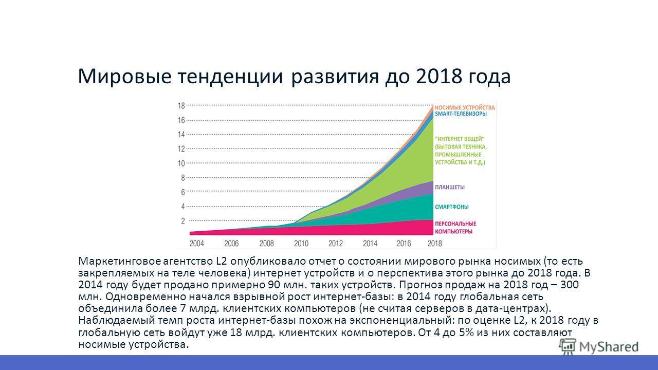 Мировые тенденции развития до 2018 года Маркетинговое агентство L2 опубликовало отчет о состоянии мирового рынка носимых (то есть закрепляемых на теле человека) интернет устройств и о перспектива этого рынка до 2018 года. В 2014 году будет продано пр