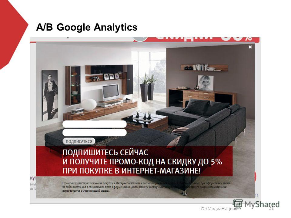© «Медиа Нация» 31 A/B Google Analytics