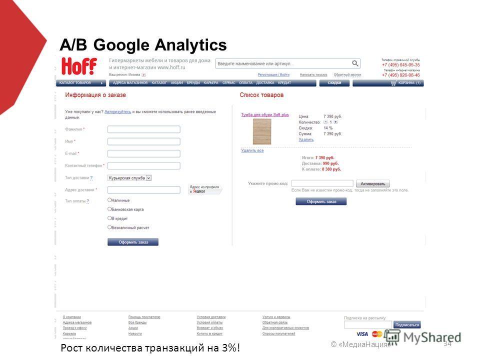 © «Медиа Нация» 34 A/B Google Analytics Рост количества транзакций на 3%!