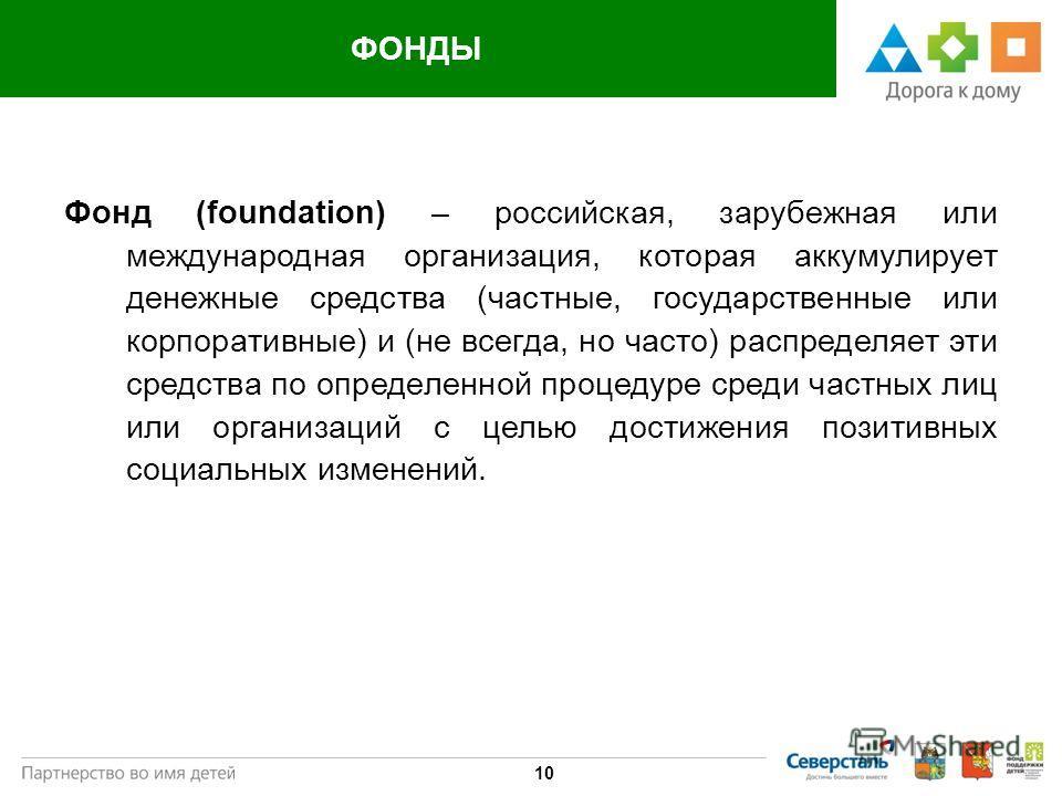 Государство 10 ФОНДЫ Фонд (foundation) – российская, зарубежная или международная организация, которая аккумулирует денежные средства (частные, государственные или корпоративные) и (не всегда, но часто) распределяет эти средства по определенной проце