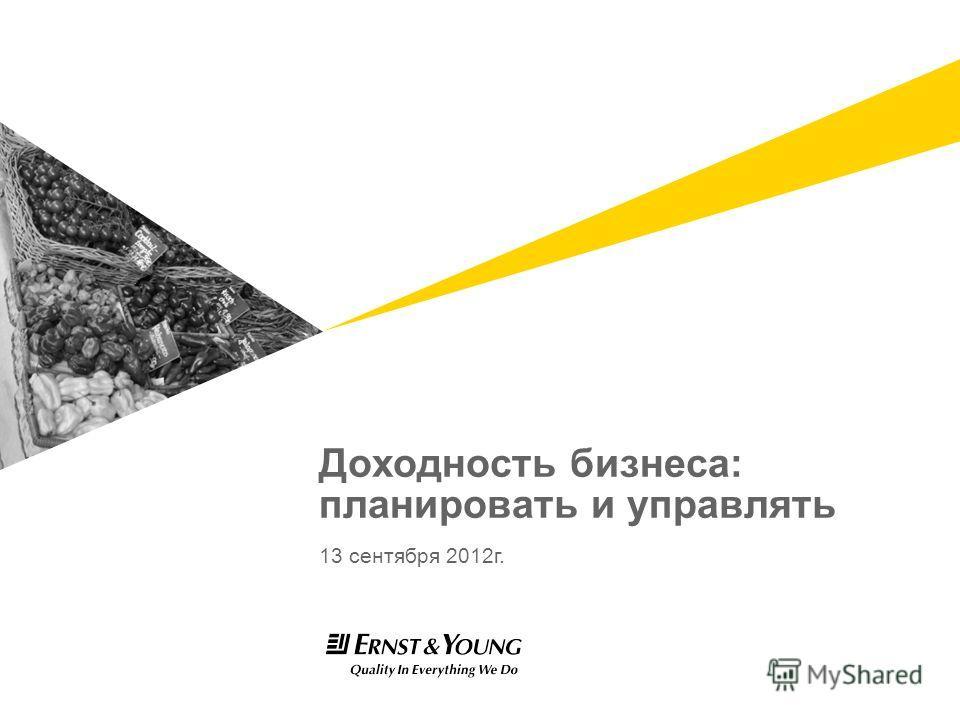 13 сентября 2012 г. Доходность бизнеса: планировать и управлять