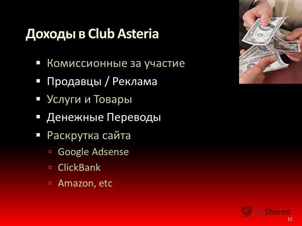 Доходы в Club Asteria Комиссионные за участие Продавцы / Реклама Услуги и Товары Денежные Переводы Раскрутка сайта Google Adsense ClickBank Amazon, etc 12